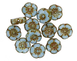 Czech Glass Sky Blue Picasso Hibiscus Coin 10mm