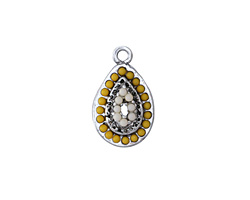 Antique Silver (plated) Beaded Linen Domed Teardrop Charm 11x19mm