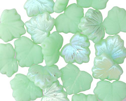 Czech Glass Mint Green AB (matte) Maple Leaf 10x13mm