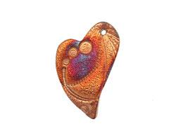 Xaz Raku Stan's Rust Dreamy Heart 26x37mm