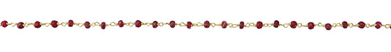 Ruby (enhanced) Faceted Rondelle 3.5mm Gold (plated) Bead Chain