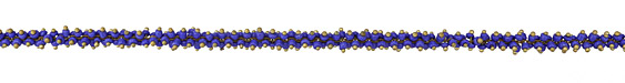 Cobalt Blue Seed Beads on Brass Chain
