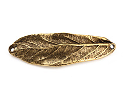 Nunn Design Antique Gold (plated) Large Leaf Bracelet Link 50x16mm