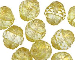 Czech Glass Lemon Ice w/ Mercury Finish Turbine 15x13mm