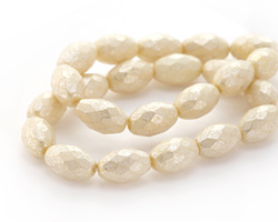 Czech Glass Weathered White w/ Mercury Finish Faceted Rice 12x8mm