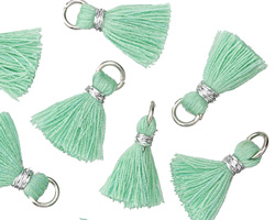 Seafoam w/ Silver Binding & Jump Ring Thread Tassel 18mm