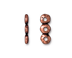 TierraCast Antique Copper (plated) Nugget 3-Hole Bar 7x19mm