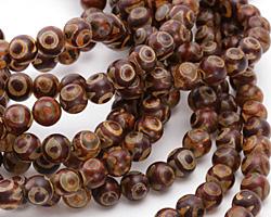 Tibetan (Dzi) Agate (red-brown) Round 8mm
