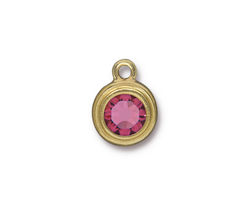 TierraCast Gold (plated) Stepped Bezel Drop w/ Rose Crystal 12x17mm
