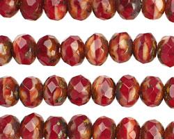 Czech Glass Cherry Pie Fire Polished Rondelle 6x9mm