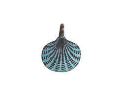 Greek Copper (plated) Patina Large Scallop Shell Charm 15x18mm