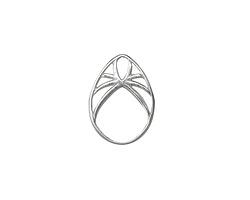 Amoracast Sterling Silver Deco Arc Drop 13x16mm