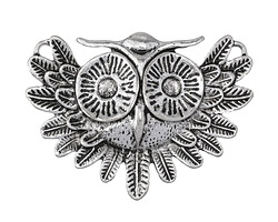 Antique Silver (plated) Vintage Owl Focal 55x40mm