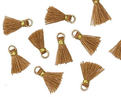 Nutmeg w/ Gold Binding & Jump Ring Tiny Thread Tassel 12mm