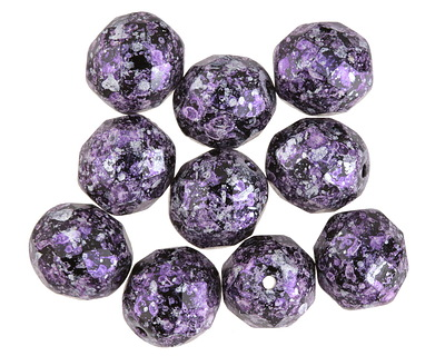 Czech Fire Polished Glass Jet w/Metallic Purple & Silver Flecks Round 10mm