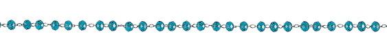 Stainless Steel Capri Blue Crystal 4mm Bead Chain