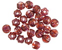 Czech Glass Russet Rose w/ Gold & Pink Luster Large Hole Melon Round 6mm