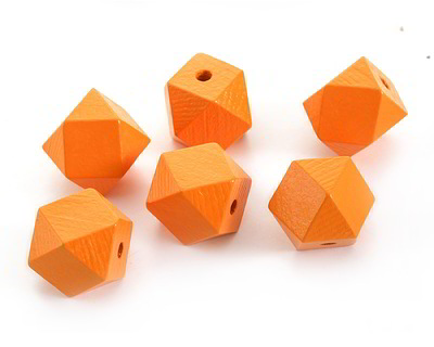 Marigold Wood Faceted Nugget 20mm