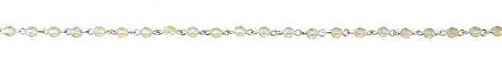 Czech Fire Polished 4mm Luster Light Topaz Faceted Round Silver (plated) Bead Chain
