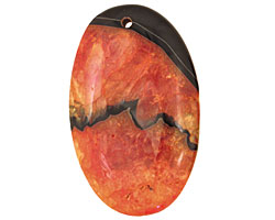 Black & Orange Agate Flat Oval Pendant 35x55mm