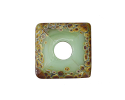 A Beaded Gift Dusted Mint Raku Large Glass Square Rondelle (large hole) 20-21mm