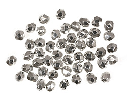 Czech Fire Polished Glass Silver Round 4mm