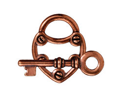TierraCast Antique Copper (plated) Lock & Key Toggle Clasp 19x24mm, 30mm bar
