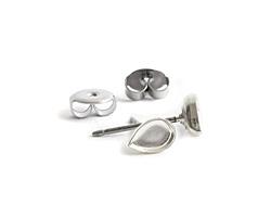 Nunn Design Sterling Silver (plated) Teardrop Bezel Post Earring 4.5x6.5mm