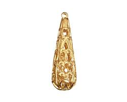 Brass Filigree Teardrop 8x28mm