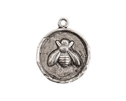 Nunn Design Antique Silver (plated) Small Round Bee Charm 20x25mm
