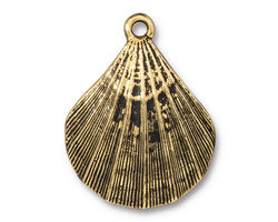 TierraCast Antique Gold (plated) Scalloped Shell Pendant 23x30mm