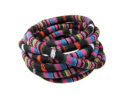 Black & Pink Round Woven Cotton Cord 6mm
