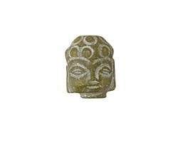 Dark Green Soochow Jade Carved Buddha Head 13-14x19-20mm