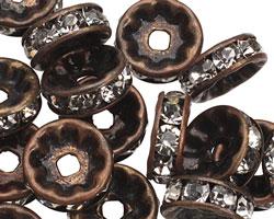 Vintage Brass (plated) Crystal Rhinestone Rondelle 10mm