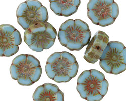 Czech Glass Aquamarine Sky Hibiscus Coin 12mm