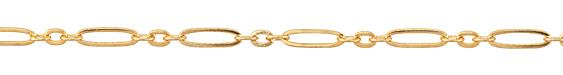 Gold (plated) Long & Short Flat Oval Chain
