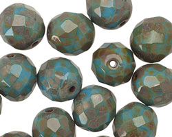Czech Glass Turquoise Silver Picasso Fire Polished Round 12mm