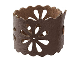 "The Lipstick Ranch Cocoa Leather Cuff Bracelet w/ Floral Cut Out 2"" x 9"""