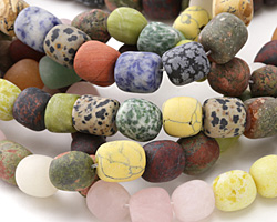 Matte Multi Gemstone (Sodalite, Picture Jasper, White Jade, Aventurine) Barrel 10-18x12-14mm