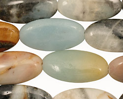 Black Gold Amazonite Flat Oval 25x12mm