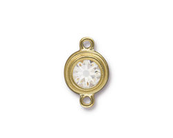 TierraCast Gold (plated) Stepped Bezel Link w/ Crystal 12x17mm