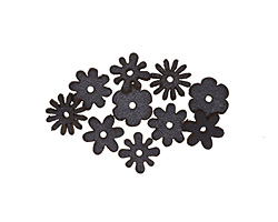 Lillypilly Black Leather Mini Assorted Flowers 12mm