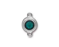 TierraCast Rhodium (plated) Stepped Bezel Link w/ Emerald Crystal 12x17mm