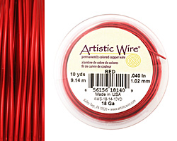 Artistic Wire Red 18 gauge, 10 yards