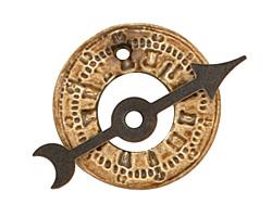 Earthenwood Studio Ceramic Metallic Bronze Time Wheel Toggle Clasp 27-28mm, 37mm bar