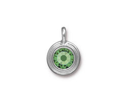 TierraCast Rhodium (plated) Stepped Bezel Charm w/ Peridot Crystal 12x17mm