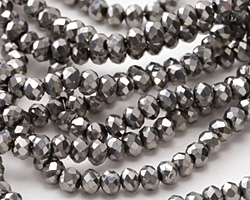 Antique Silver Crystal Faceted Rondelle 3mm