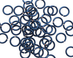 Blue Enameled Copper Round Jump Ring 7mm, 18 gauge