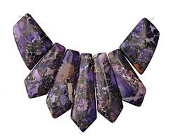 Purple Impression Jasper & Pyrite Pendant Set 20-45mm