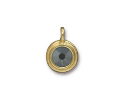 TierraCast Gold (plated) Stepped Bezel Charm w/ Jet Hematite Crystal AB 12x17mm